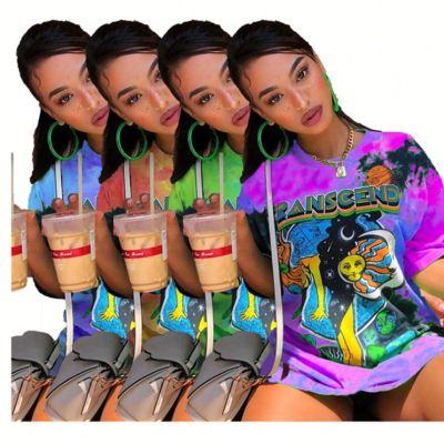 0070310 Fashionable Ladies casual Basic tops round neck cartoon Printing loose Girls' Tee Summer Women T Shirt