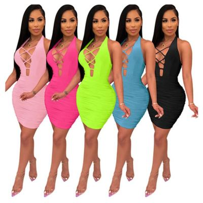 0070320 New stylish sexy backless bandage halter solid color Night Evening Club Party Summer Women Girls' Casual Dress For Woman