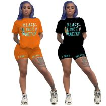 2020 Summer fashion casual sports suit letter print Sexy 2 Pcs Track Suit Outfits Two Piece Shorts Set Women Clothing
