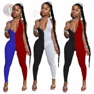 Tights Hot Sell Backless Patchwork V-neck Sexy Woman One Piece Jumpsuits And Rompers Bodycon Jump Suit