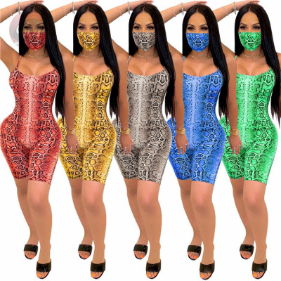 Summer Newest Tights Snakeskin Printed Sexy Woman One Piece Short Jumpsuits And Rompers Bodycon Jump Suit