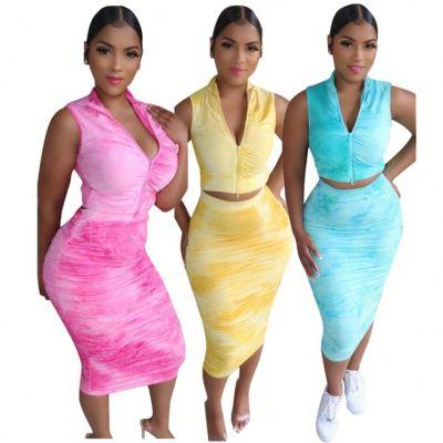 2020 Summer fashion zipper draped tie-dye sexy 2 Pcs Dress Outfits Skirt And Top Two Piece Set Women Clothing For Women