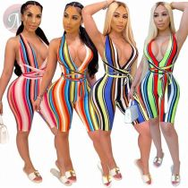 Hot Sell Ladies Summer Draped Solid Women Stacked Bodycon Bodysuits One Piece Jumpsuits And Rompers