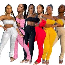 Sexy night club Summer solid color crop Top And Pants 2 Pcs TrackSuit Outfits Two Piece stacked pants Set Women Clothing
