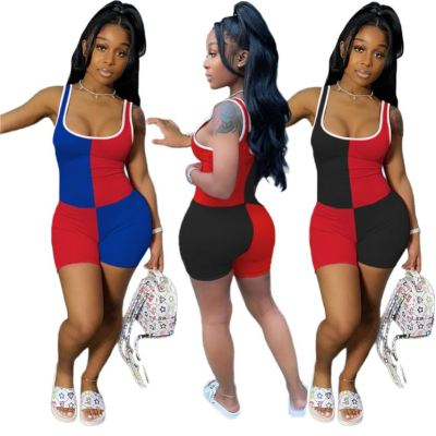 New style 2020 summer fashion sexy solid color splice Ladies Jump Suit Women One Piece Short Jumpsuits And Rompers