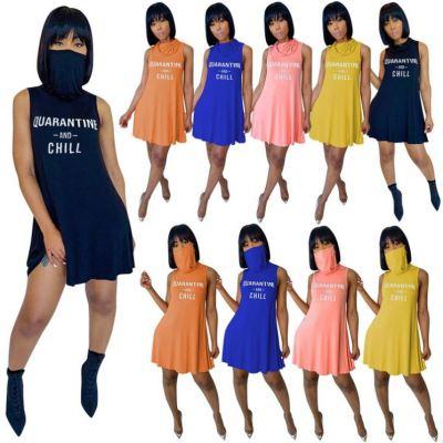 Newest fashion sleeveless letter print tank dress Women Girls' Sexy Clothes Lady Elegant Summer Casual mini Dress