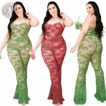 Sexy Fashion Summer Snake Printed Mesh Flare Pants 2 Outfits Two Piece Set Women Clothing