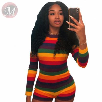 Casual Striped V-neck Fitness Jump Suit Bodycon Sexy Women Jumpsuits And Rompers One Piece Short
