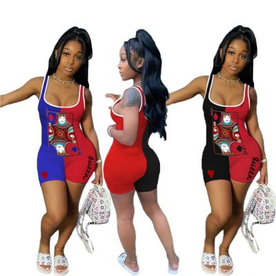 Wholesale fashion 2020 summer sexy print contrast color Ladies Jump Suit Women One Piece Short Jumpsuits And Rompers