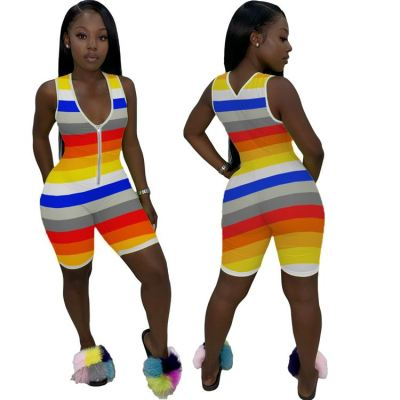 Hot onsale summer casual sleeveless rainbow stripe bodycon Ladies Jump Suit Women One Piece Short Jumpsuits And Rompers