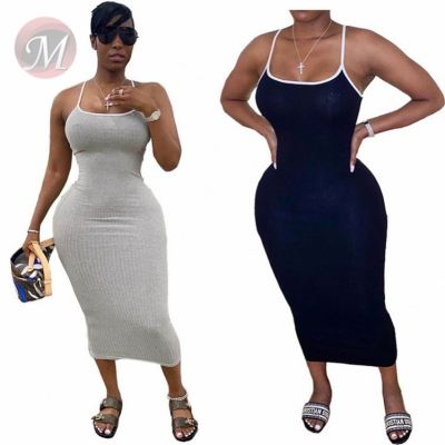 Wholesale Woman Solid Color Slip Hot Sell Girls' Sexy Clothes Lady Elegant Summer Fashion Dress