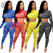 Wholesale Summer Fashion Printing Crop Top And Pants Sexy 2 Pcs Outfits Two Piece Set