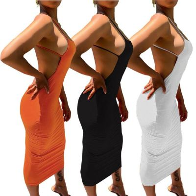 Wholesale fashion solid color backless Women Girls' Sexy Clothes Bandage Lady Elegant Summer Casual Dress