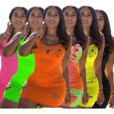 Hot selling Burn Out holes Sexy bodycon Lady Elegant Clothes Night Evening Club Summer Women Girls' Casual tank Dress