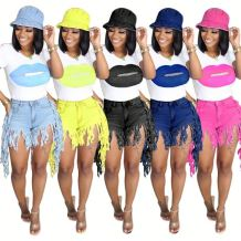 Hot selling fashion tassel denim shorts and t shirt Summer Sexy 2 Pcs Track Suit Outfits Two Piece Set Women Clothing