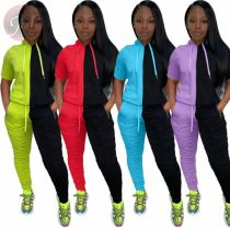 Newest Summer Sexy Draped Patchwork Hoodie Two Piece Set For Women 2 Pcs Track Suit Outfits