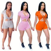 Best price 2020 Summer casual solid color bandage Sexy 2 Pcs Track Suit Outfits Two Piece Shorts Set Women Clothing