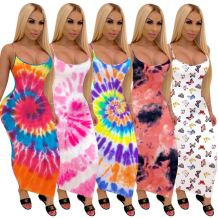 Best design summer sleeveless fashion print sexy night evening club Lady Elegant Clothes Women Girls' Casual long Dress