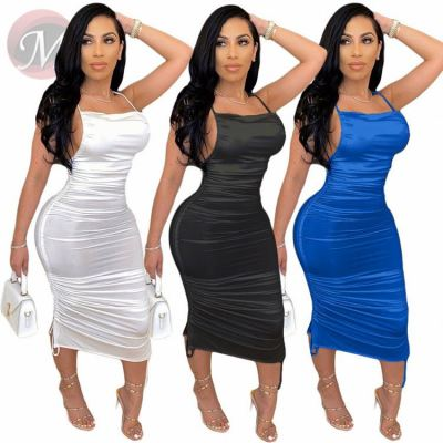 Fashionable Women Solid Draped Backless Girls' Sexy Clothes Lady Summer Casual Dress