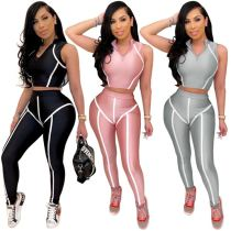 New arrival summer fashion suit stripe splice skinny yoga Sexy 2 Pcs Track Suit Outfits Two Piece Set Women Clothing