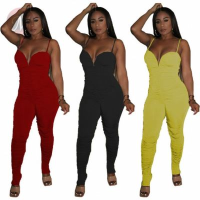 Fashion Lady Solid Color Tights Stacked Draped One Piece Jumpsuits And Rompers Sexy Woman Bodycon Jump Suit