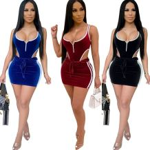 Fashion soft velvet sexy night club backless hollow out 2 Pcs Dress Outfits Skirt And Top Two Piece Set Women Clothing