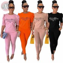 Casual Summer Letter Printed Solid Pocket Sexy 2 Pcs Track Suit Outfits Two Piece Set