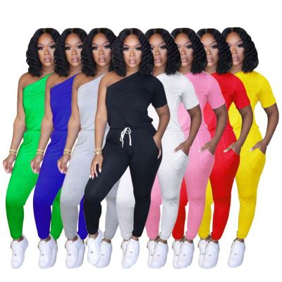 New style fashion casual solid color one shoulder sports jumpsuits summer ladies women one piece jumpsuits and rompers