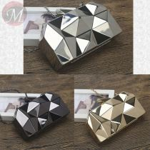 Gold Acrylic Geometry Clutch Evening Bag Elegant Fancy Women Ladies Handbag For Party Shoulder Bag