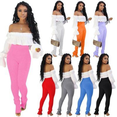 New stylish long sleeve crop Top And elastic Pants Sexy 2 Pcs Track Suit Outfits Two Piece Set Women Clothing