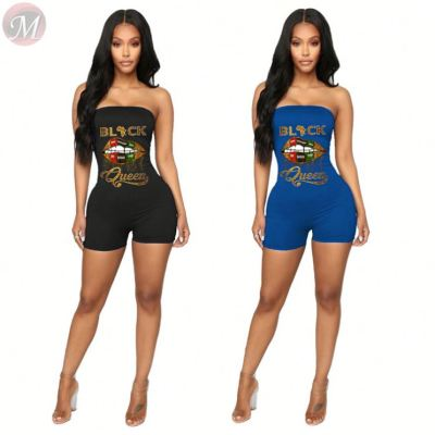 2020 Summer fashion lip print sexy bodycon Ladies Jump Suit Women One Piece Short Jumpsuits And Rompers