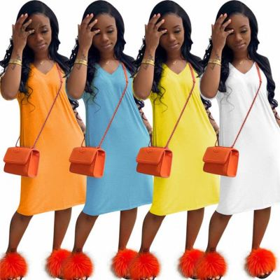 Women Wholesale Solid V-neck Short Sleeve With Pocket Lady Sexy Clothes Lady Elegant Summer Fashion Dress