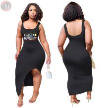 Fashion sexy backless tank dress letter print Women Girls' Clothes Lady Elegant Summer slit Casual long Dress