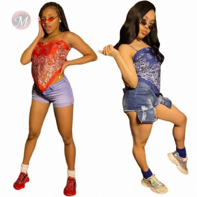 Fashionable Summer Latest Design Slip Printed Ladies Sexy Fashion Women Tops