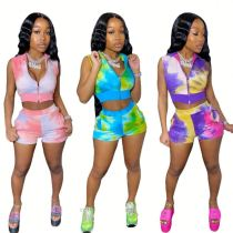 Fashionable Summer zipper tie dye crop Top And shorts Pants Sexy 2 Pcs Track Suit Outfits Two Piece Set Women Clothing