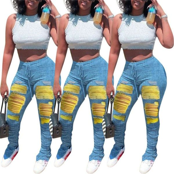 Newest design drawstring elastic mid waist hole draped denim pants Women Female Bottoms Ladies Trousers Jeans Pants