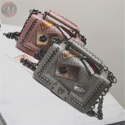 Hot sale 2020 PU women crossbody bag hotselling patches chains handbag square tote bag for women