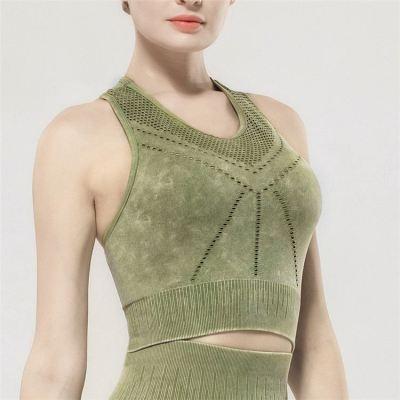 Stylish Fitness breathable mesh tight sports gym bra yoga wear high elastic Running women's tank tops