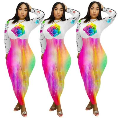 2020 Autumn long sleeve Flower positioning printing ladies sexy bodycon jumpsuits women one piece jumpsuits and rompers