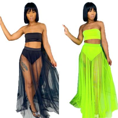 Latest design 2020 summer sexy mesh beachwear 2 Pcs Dress Outfits Skirt And Top Two Piece Set Swimming suit