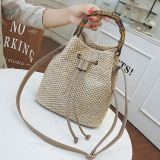 Hot sale 2020 hollow solid color bucket simple Best Cross Body Straw plaiting Lady bag handbag