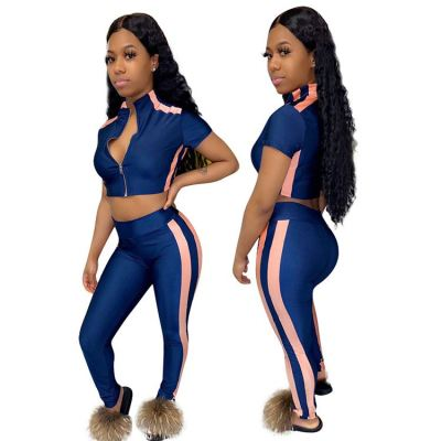 Good quality Summer casual zipper crop Top And Pants Sexy 2 Pcs Track Suit Outfits Two Piece Set Women Clothing
