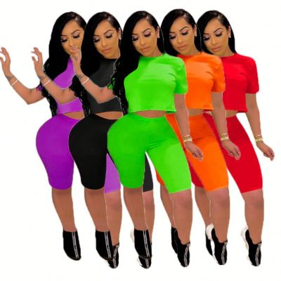 Popular Summer fashion casual solid color sports suit Sexy 2 Pcs Track Suit Outfits Two Piece Shorts Set Women Clothing