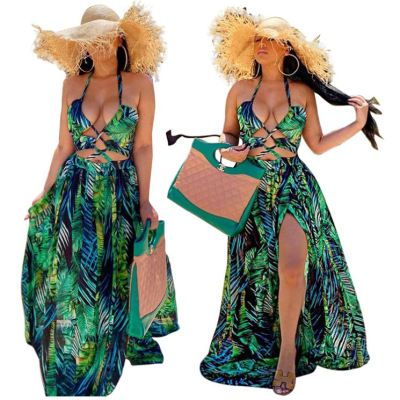 Hot onsale summer fashion digital print halter hollow out Lady Elegant Sexy Clothes Women Girls' Casual maxi long Dress