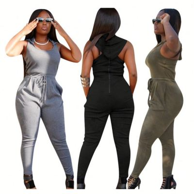 Fashionable casual zipper sleeveless solid color hooded sports jumpsuits women one piece jumpsuits and rompers