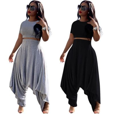 2020 Fashion casual solid color Summer crop Top And Harem Pants Sexy 2 Pcs Track Suit Outfits Women Two Piece Set