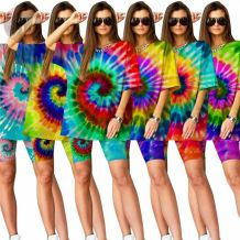 Sexy Tie Dye Summer Casual 2 Pcs T-shirt And Shorts Outfits Two Piece Short Set