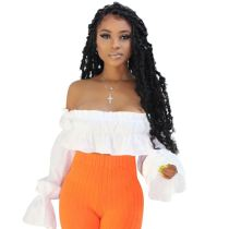 Latest Design 2020 Ladies Fashionable off the shoulder ruffles Sexy Casual Custom Women Tops Shirt And Blouse