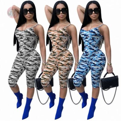 Sexy Women Fashion Summer Tights Sexy Camouflage Bodycon Jump Suit One Piece Jumpsuits And Rompers