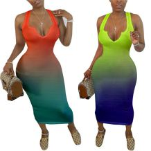 Hot onsale sexy v neck gradient color bodycon tank dress Women Girls' Clothes Lady Elegant Summer Casual long Dress